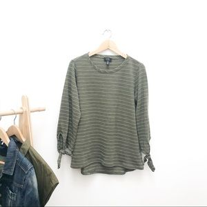 Striped Army Green T Shirt Blouse With Sleeve Ties